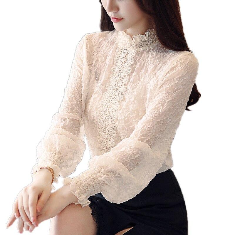 Women Lace Tops Blouses Embossing Spliced Ear Chiffon Shirt Lantern Sleeve Casual Ruffles Lace Blouse Women Shirts Blusas
