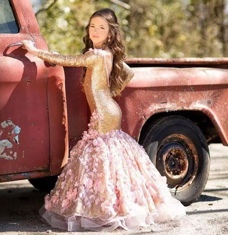 Босоножки на высоком каблуке Blingbling золото «Русалочка» с блестками для девочек в цветочек платья одежда с длинным рукавом с низким вырезом н...