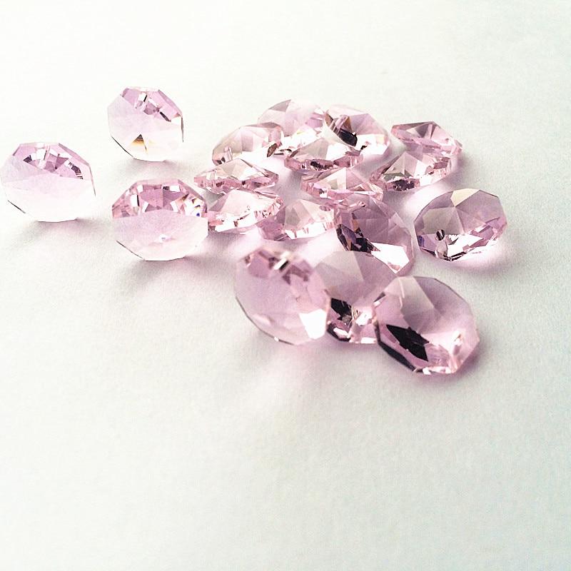 Высокое качество 20 шт./лот многоцветный 14 мм хрустальные Восьмиугольные бусины в одном отверстии K9 кристаллы части для люстры аксессуары DIY Свадебные и x-дерево украшения - Цвет: Pink