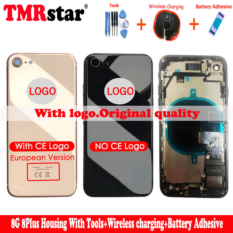Replacment Chassis Full Housing For Iphone 8 8g Plus Back Cover Middle With CE Logo Flex Cable Wireless Chaeger