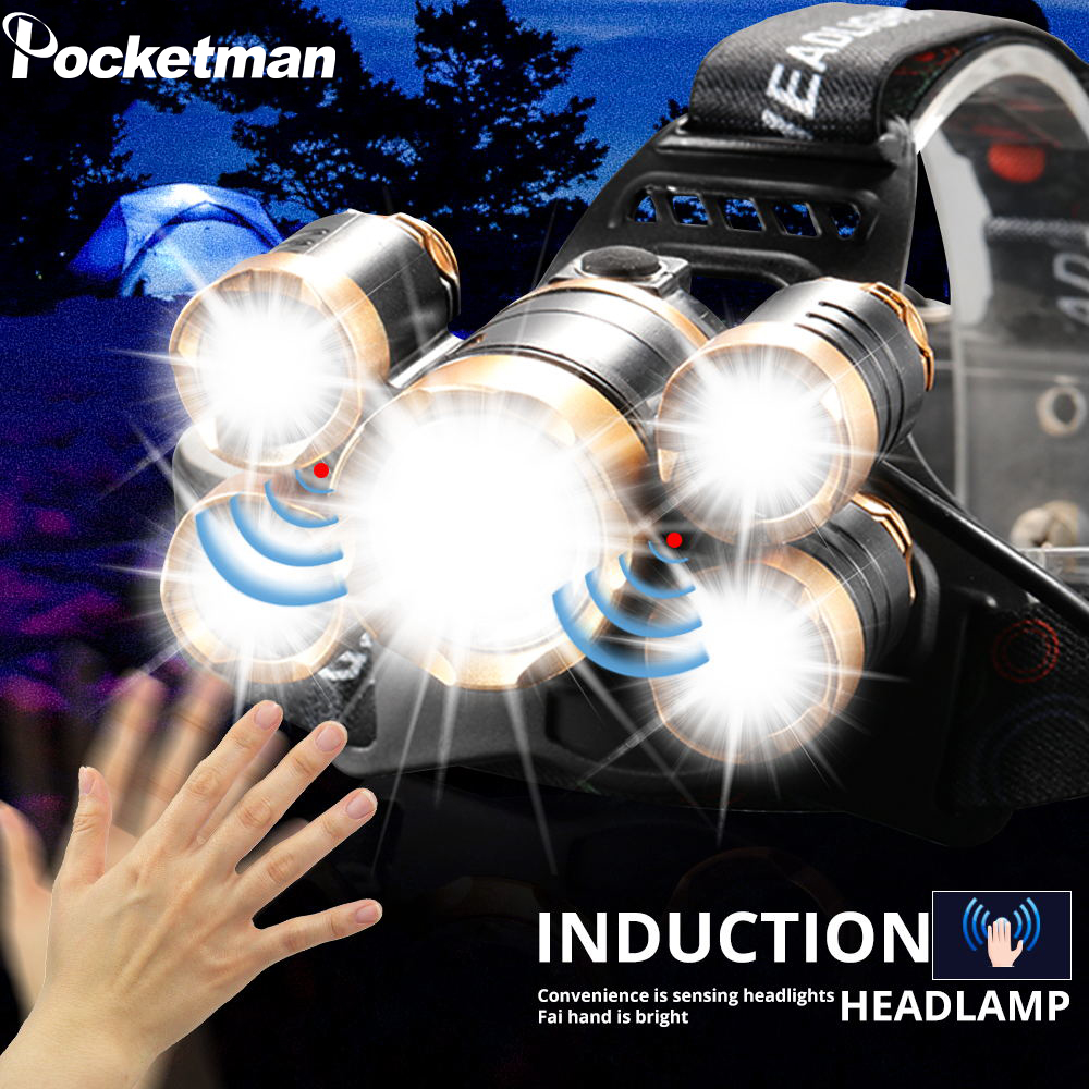 7000 Lumens Led Headlamp Zoom Headlight 5 LED T6 Head Torch Flashlight Waterproof Fishing Hunting 18650 Head Lamp