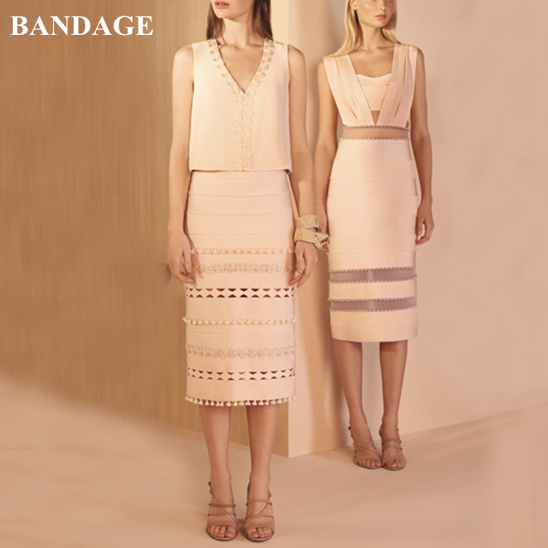 BANDAGE New Chic Autumn Office Lady Pencil Skirt Elegant High Waist Tassel Fringe Bodycon Hollow Out Party Skirt Knee Length image