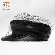 Черная кожаная кепка газетный берет шляпа с козырьком берет в стиле винтаж вуаль шапки для женщин дамы Новая мода зима осень весна