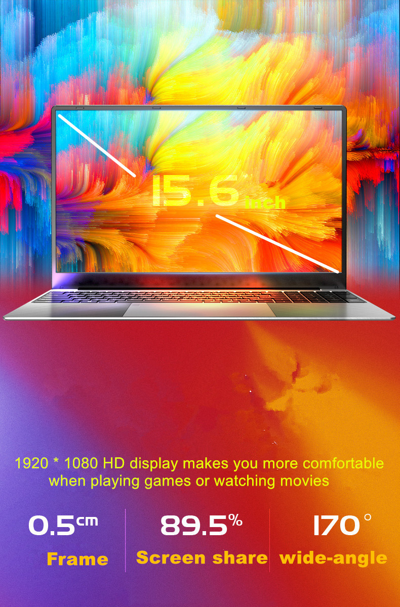15.6 inch Gaming Laptop With i7 CPU16G RAM 1TB 512GB 256GB 128GB 64GB SSD ROM Notebook Computer Backlit Keyboard Win10 Ultrabook