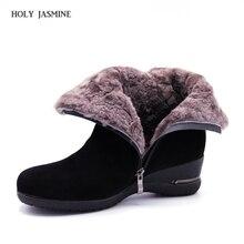 2020 ฤดูหนาวใหม่อบอุ่นขนสัตว์ข้อเท้ารองเท้าผ้าขนสัตว์แท้Full GrainหนังยาวPlush Snow Bootsผู้หญิงคุณภาพสูงwedgesรองเท้า