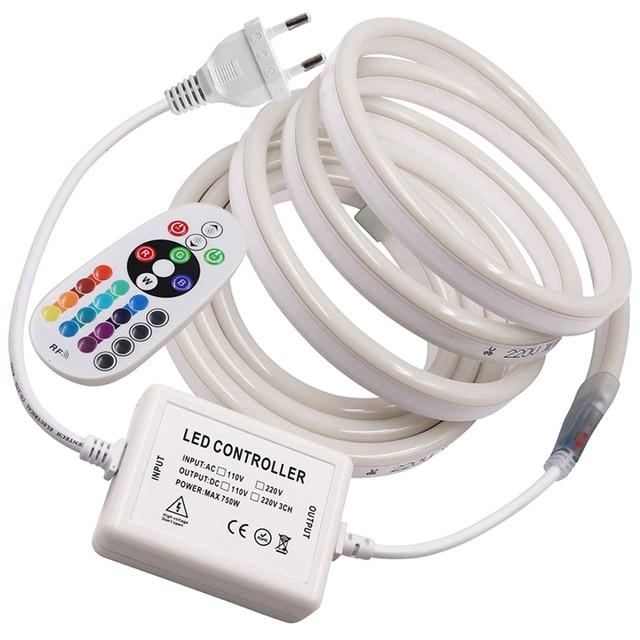 220V 110V LED Streifen RGB Neon Flex Seil Licht Wasserdichte IP68 LED Band TV Dimmer Flexible