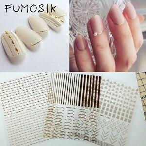 1 лист, золотистые, серебристые металлические 3d-наклейки для ногтей