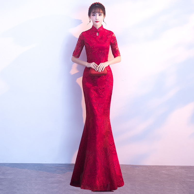 Chinese Traditional Red Lady Cheongsam Woman Slim Long Qipao Vintage Embroidery Lace Dress Cheongsam Qipao Dress