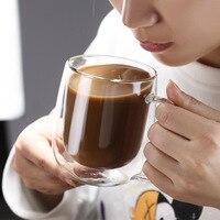 Tazza da tè in vetro resistente al calore a doppia parete Set di tazze da caffè per birra bicchieri per bevande sani creativi fatti a mano bevanda trasparente calda