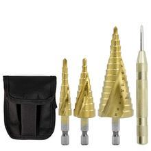 цена на 4Pcs 4-12/20/32mm Steel Step Cone Drill Countersink Titanium Bit Set Hole Drill Bit Solid Carbide Drill Tool Step Cone Drill Bit