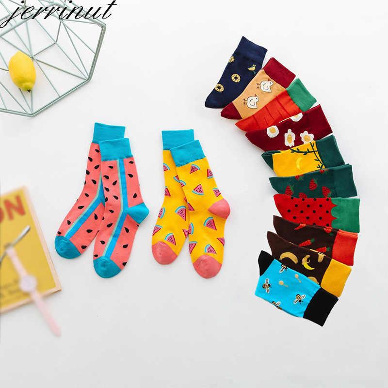 Kadınlar mutlu komik çoraplar baskı ile sanat sevimli sıcak kış çorap avokado suşi gıda pamuk moda Harajuku Unisex çorap 1 çift