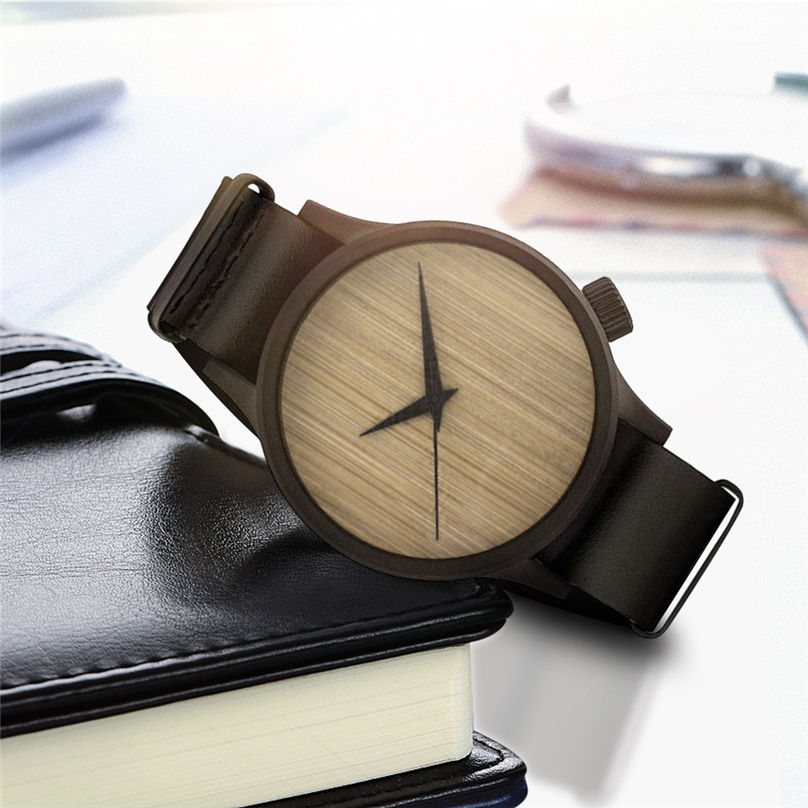 New Casual Fashion Wooden Watch Men`s And Women` Bamboo Men Leather Watches 3N25 (1)