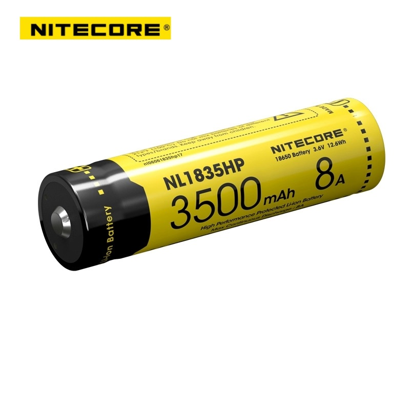 2017 Nitecore NL1835HP High Performance 18650 3500mAh 3.6V 12.6Wh 8A Protected Li-ion Button Top Battery For High Drain Devices