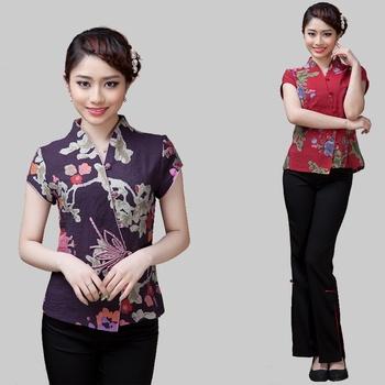 Damskie chińskie bluzki kwiatowy cheongsam koszula Qipao Top z krótkim rękawem chińskie tradycyjne Top lniane chińskie bluzki dla kobiety TA2129 tanie i dobre opinie SILKQUEEN Poliester Topy Suknem WOMEN