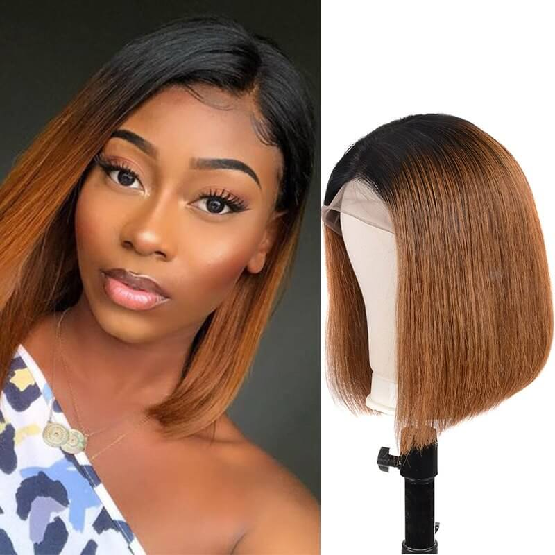 T1B/30 Ombre Brown Lace Front Human Hair Wigs Brazilian Remy Straight Short Bob Human Hair Wigs SOKU 13x4 Lace Frontal Wigs