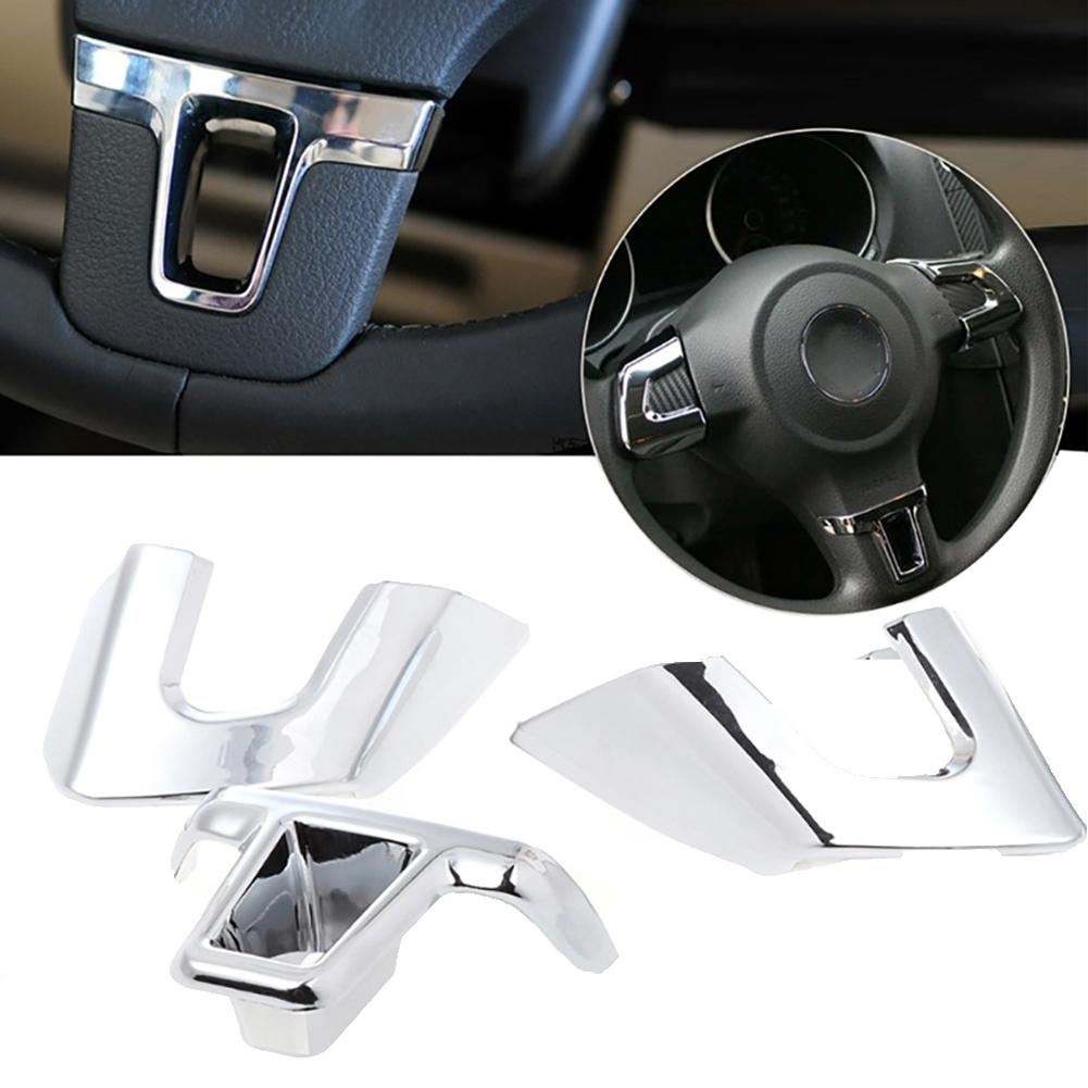 3Pcs/Set Car Steering Wheel Trim Cover Decor For V-W Golf6 MK6 Po-lo Bora Jett-a  Beautiful Easy To Install Durable