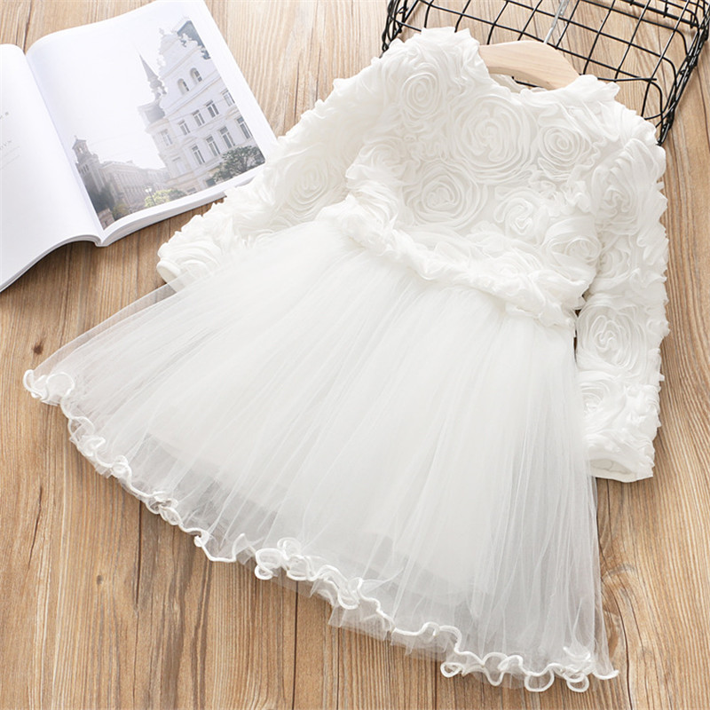 H20452998495a47d8956c1b37f1d93fbdj Red Kids Dresses For Girls Flower Lace Tulle Dress Wedding Little Girl Ceremony Party Birthday Dress Children Autumn Clothing