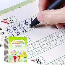 4 pces crianças reutilizáveis 3d copybook para números de caligrafia 0-100 livros de escrita aprendendo matemática livro inglês para crianças brinquedos