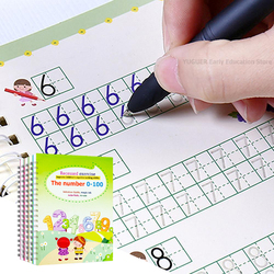 4 Pcs Reusable Children 3D Copybook For Calligraphy Numbers 0-100 Handwriting Books Learning Math English Book For Kids Toys