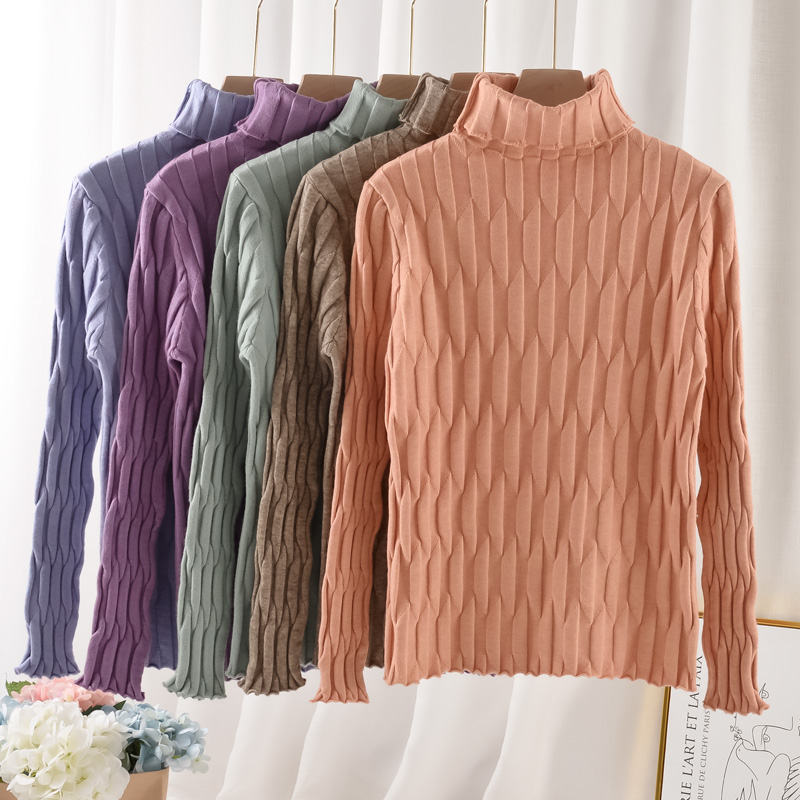 DeRuiLaDy 2019 Casual Knitted Sweater Women Fall Winter Long Sleeve Turtleneck Slim Sweaters Top Womens Office Pullover Jumper