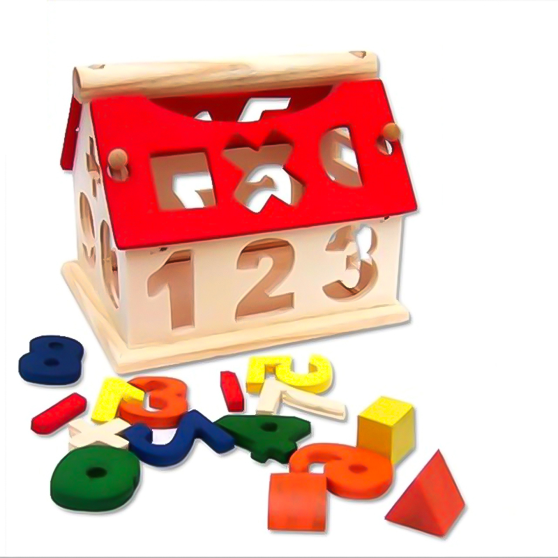 Wooden House Montessori Puzzle Math Arithmetic Bricks Color Recognition Learning Educational Game Baby Toddler Toys For Children