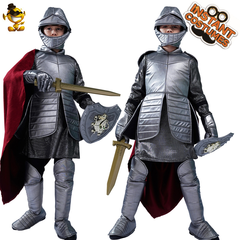 Kids Royal Warrior Knight Costumes Role Play Boy Roman Warrior Clothes Cosplay Kid Halloween Costume