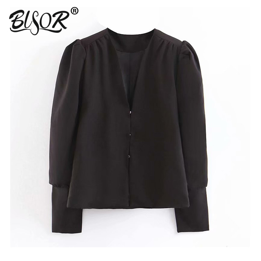 Women Stylish Solid Black V Neck Blazer Hidden Breasted Puff Long Sleeve Back Bow Tie Female Casual Wear Top Blusas