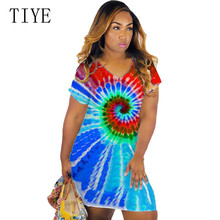 TIYE New Arrival Street Hipster Sexy Tie Dyed Dress Women V-neck Short Sleeve Summer Casual Vintage Femme Hollow Out Wear