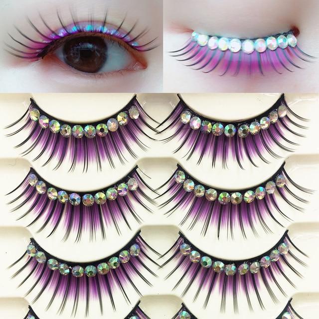 YOKPN Colored False Eyelashes Exaggerated Latin Performance Thick Fake Eyelashes Shimmery Show Color Big Eye Makeup Lashes Glue 1