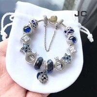 JC Fashion Charm 925 Sterling Silver DIY Bracelet Crown Glass Beads With Logo, Male Female Bracelet Woman Accessories Jewelry