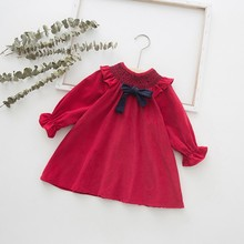 Autumn Lovely Long Sleeve Baby Girls Dress Girl 0-7T Newborn Toddler Bow Decor Round Neck Princess Dresses Kids Casual Clothes