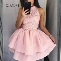 Pink Homecoming Dress 2020 Satin Short Party Gowns Jewel Neck Graduation Dresses Lace Homecoming Dresses Vestidos