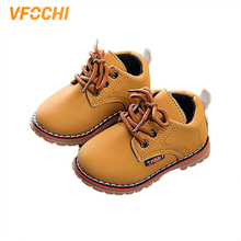 VFOCHI New Boy Martin Boots for Kids Soft Non-Slip Outdoor Shoes Children Casual Unisex Girls Leather