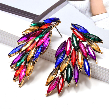 Wing-Shaped Hollowed-out  Colorful Crystals Drop Earrings  4