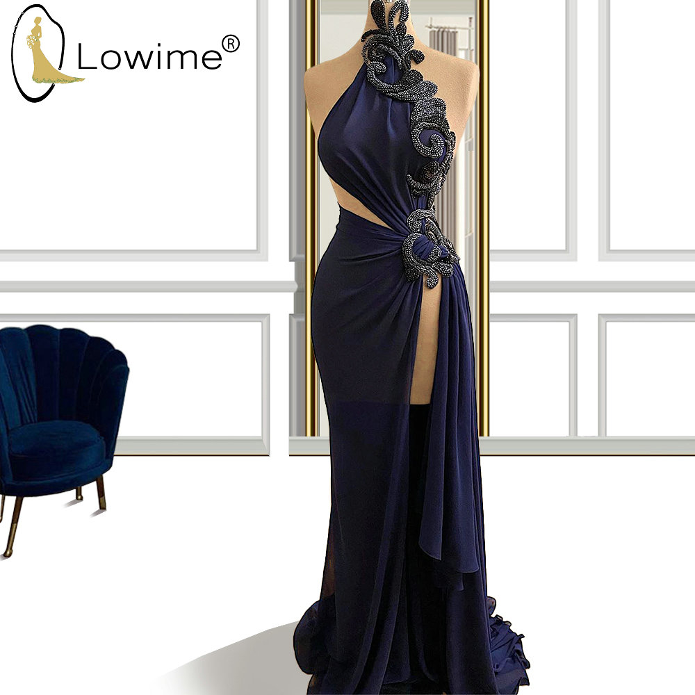 Unique Navy Blue Mermaid Evening Dresses High Neck Beaded Cutaway Sides Ruched вечернее платье Split Prom Party Dress Long Robes