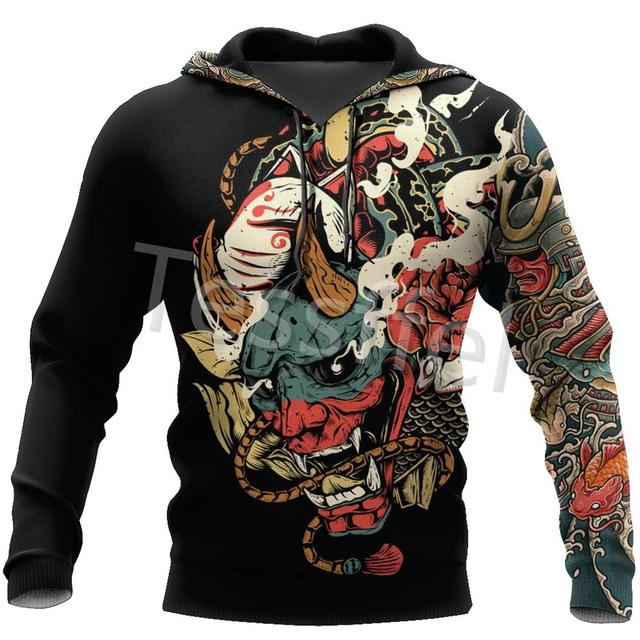 Tessffel Japan Samurai Tattoo 3D Printed New Men's Sweatshirt Harajuku Zipper Hoodie Casual Unisex Jacket Pullover Style-3 1