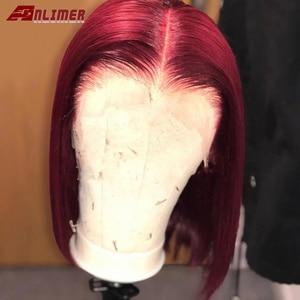 13х6 прямые бордовые парики с фронтальным кружевом, 99J короткие парики с фронтальным кружевом, человеческие волосы, винно-красные бразильски...