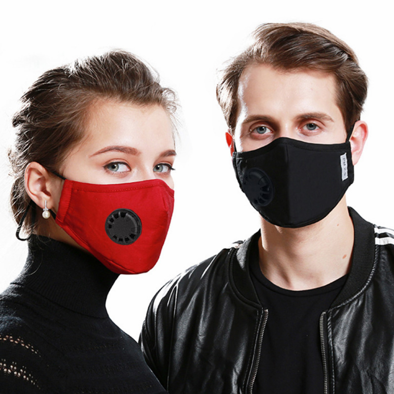 2pcs Respirator Mask With Breathing Valve Unisex Sponge Face Masks Windproof Respirator Gas Mask Activated Carbon Face Mask Ffp3