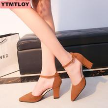 2019 new pointed thick with a word buckle wild hollow high-heeled sandals matte leather single shoes female summer 2018 summer new sandals female hollow word buckle high heeled shoes high heels wild with a single shoes women s shoes f072