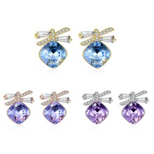 Blue Purple Pink Crystal Romantic New S925 Sterling Silver Stud Earrings Butterfly Jewelry jewelry