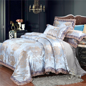 Home textile silver bedding set Jacquard Lace duvet cover set 4pcs bed linen European bed cover luxury golden flat sheet scallop(China)