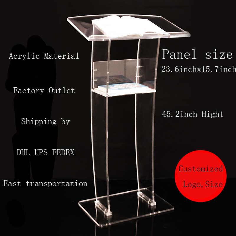Einfache Transparente Acryl Kirche Podium Begrüßung Plattform Podium Tabelle Beratung Rezeption Einkaufen Sprechen Plattform