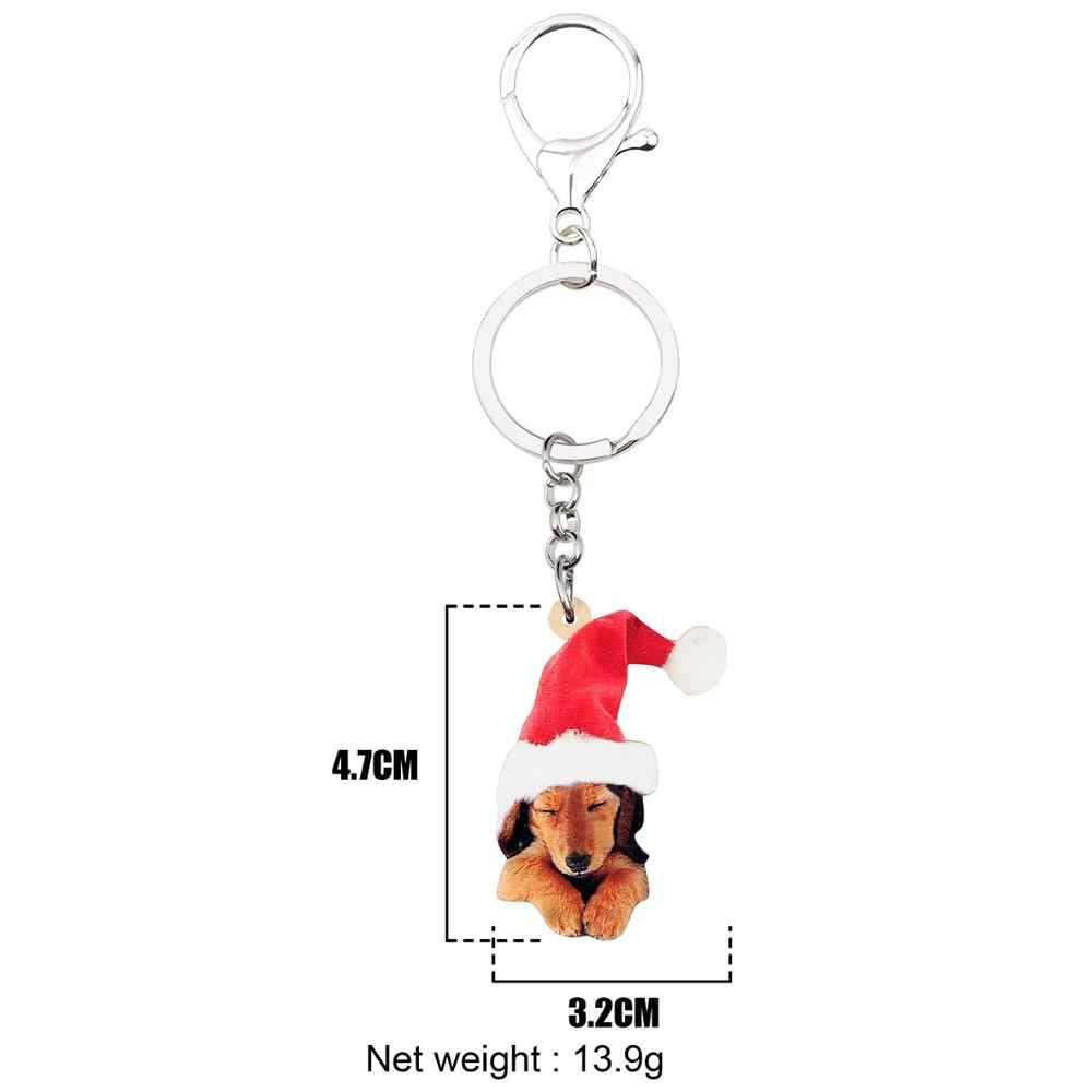WEVENI Acrylic Giáng Sinh Chó Labrador Móc Chìa Khóa Móc Khóa Xe Túi Ví Động Vật Thú Cưng Trang Trí Móc Khóa Cho Cô Gái Nữ Quyến Rũ quà Tặng