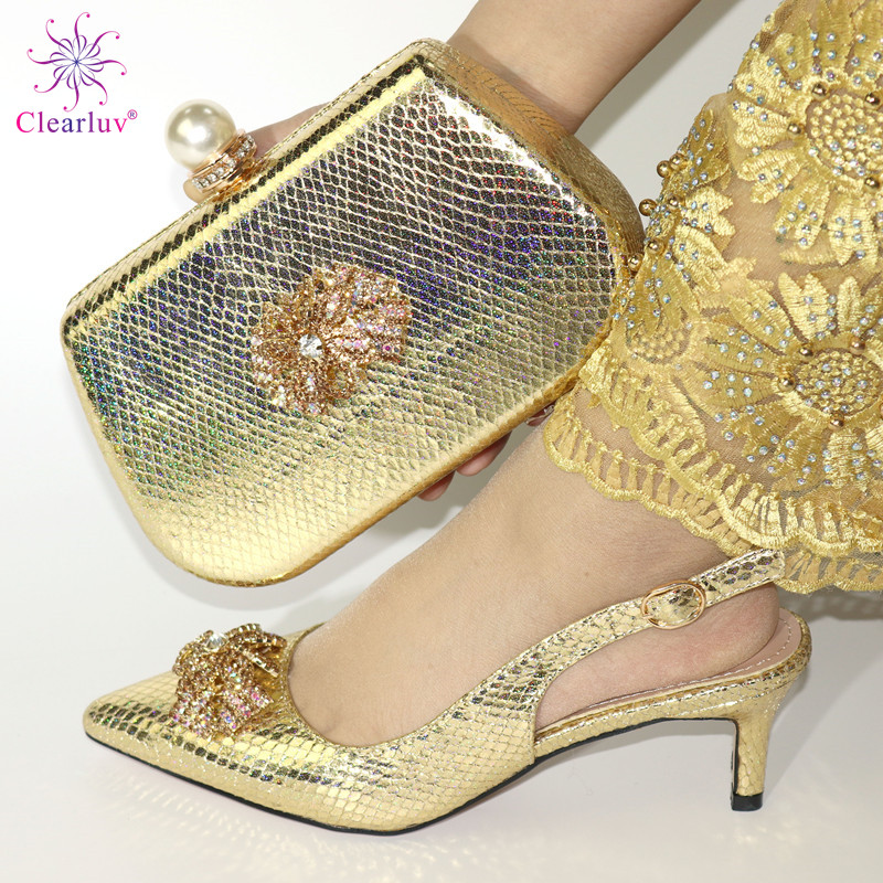 New Gold Color Italian Shoes With Matching Bags African Women Shoes And Bags Set For Prom Party Summer Sandal