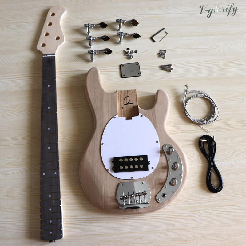 5 string electric bass guitar kit ashwood guitar body maple bass guitar neck unfinished DIY guitar parts with all accessories