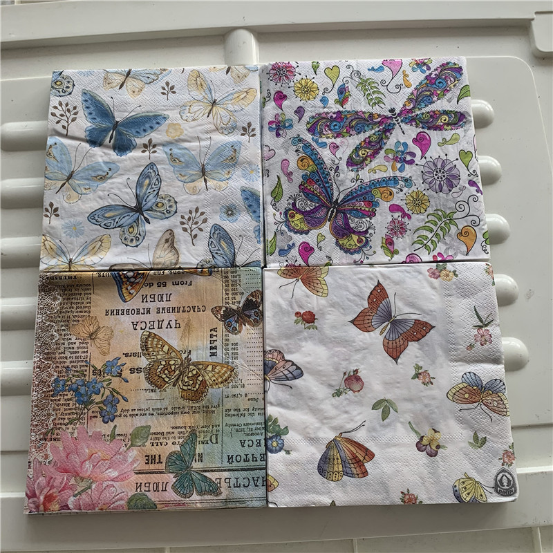 Decoupage Wedding Birthday Party Napkin Paper Elegant Tissue Butterfly Dragonfly Vintage Beautiful Serviettes Square Decor 20