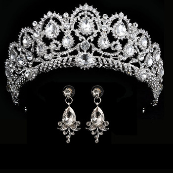 Wedding Crown Queen Bridal Tiara Bridal With Earring Luxury Rhinestone Headband Diadem Bride Hair Jewelry Ornaments