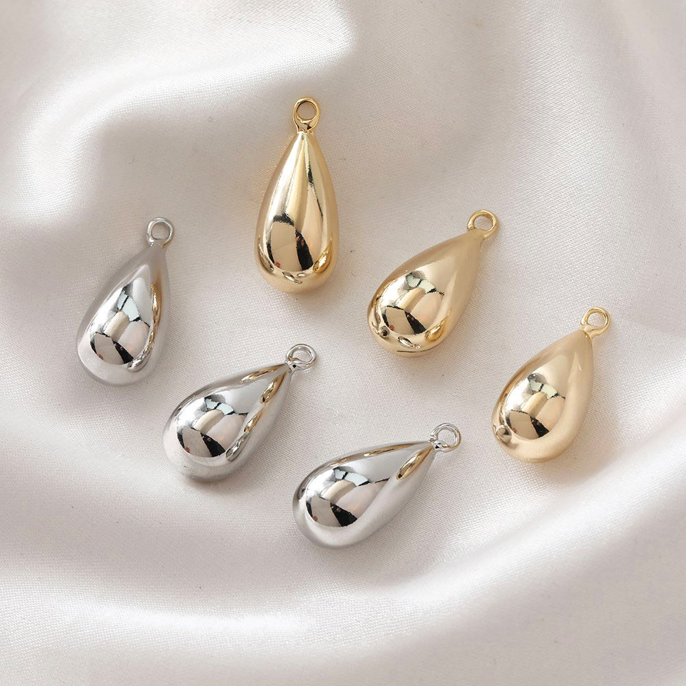 4PCS Drop Shaped Necklace Pendant for Jewelry Findings Components 14K Gold Plated DIY Earrings Hand Made Brass Accessories