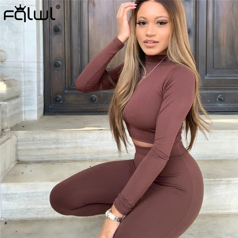 FQLWL Casual 2 Piece Set Women Sweatsuit Sport Suit Outfits Long Sleeve Crop Top And Pants Female Tracksuit Ladies Matching Sets