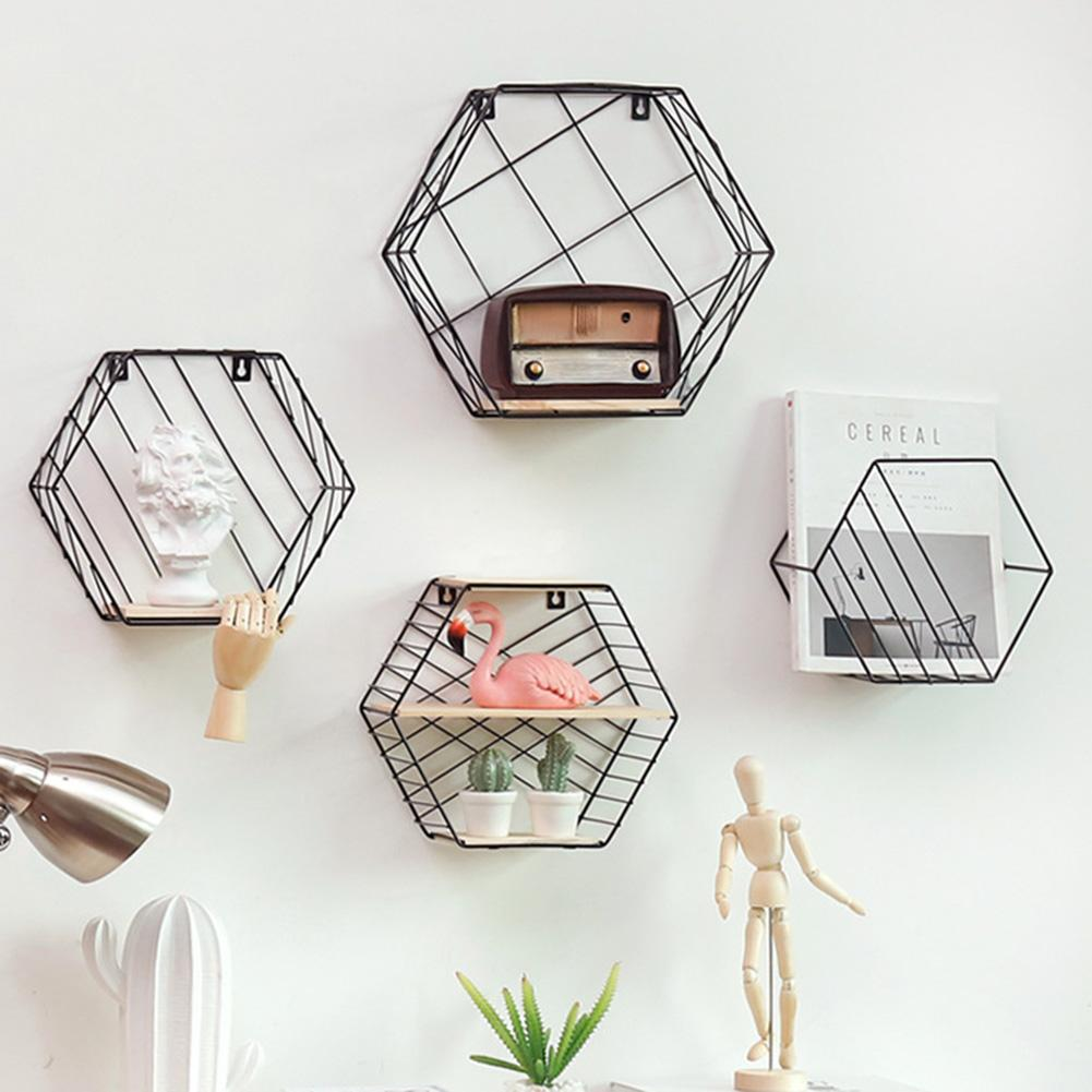 Nordic Style Iron Hexagonal Wall Hanging Shelf Rack Living Room Bedroom Decor Wall Decoration  Decorative Shelf